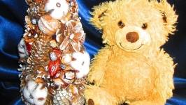 Заснеженная декоративная рождественская (новогодняя) елочка, эко стиль
