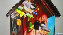 Ключница -домик Птички-невелички,настенная вешалка в прихожую, детскую