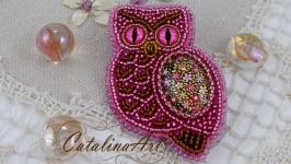 Брошь ′Розовая совушка′