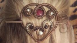 Заколка -фибула ′Сердце с гранатом′