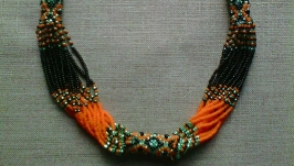 Beaded Ethno necklace yellow-hot, turquoise and black color