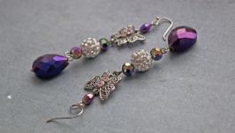 Длинные серьги Серьги с фиолетовым Серьги бабочки