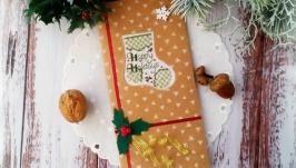 Открытка с вышивкой ′Happy holidays′