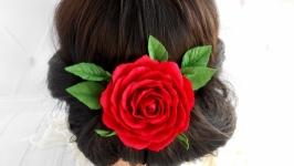 Украшени с красной розой свадебная с цветами Шпилька для волосся невесте