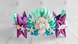 Ободок корона для девочки на день рождение Костюм русалки Обруч на голову