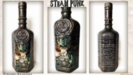Подарочное оформление бутылки «Часовщик» в стиле стимпанк (steampunk)