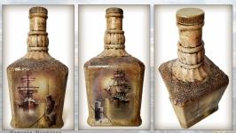 Оригинальный декор бутылки в морском стиле Подарок моряку