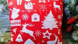 Подушка новогодняя красная олени-снежинки-елки, 35 см * 35 см