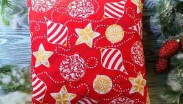 Подушка новогодняя красная желтые глитерные гирлянды, 35 см * 35 см