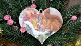 Новорічні прикраси-валентинки з дерева ′Зимові пухнастики′