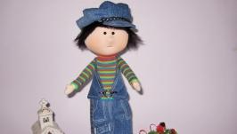 Текстильная кукла мальчик , кукла подарок к Новому году