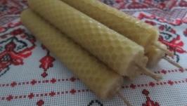 Свечи из вощины (пчелиный воск) 12*2см