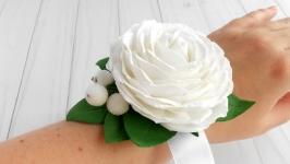 Цветочный браслет для подружек невесты Украшение на свадьбу с белой розой