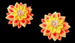 Набор заколки с цветами канзаши Подарок заколка девочку на день рождениу