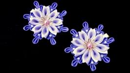 Набор украшений с цветами канзаши Подарок заколка для волос девочке