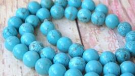 Бирюза 10мм бусины голубой натуральные камни