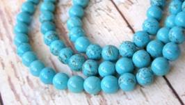 Бирюза 8мм бусины голубой натуральные камни