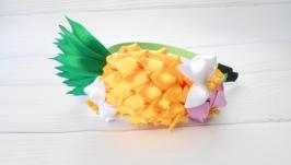 Ободок с ананасом девочке на новогодний утренник Обруч канзаши на голову