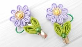 Заколка цветочная для волос Украшение канзаши в подарок для девочки