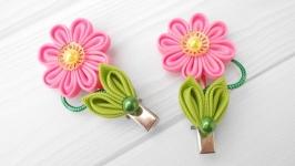 Набор розовых украшений для волос Заколка канзаши Подарок девочке