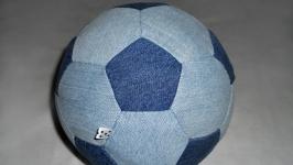 Мяч футбольный джинсовый сине-голубой