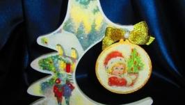 Новогодняя елочка Рождественская история, елка интерьерная,декупаж