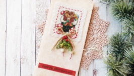 Открытка с вышивкой ′Рождественский носок′