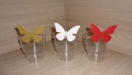 Украшение на бокалы, столовые приборы набор Бабочки