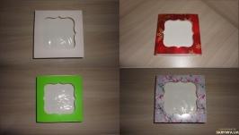 Коробка 12*12*3 см с фигурным окном цветная