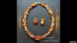Комплект украшений (ожерелье и серьги) ′Карамель′ с натуральными камнями