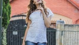 Блуза валяная белая на шелке