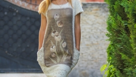 Платье валяное с росписью по текстилю из коллекции Пастель