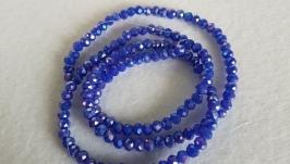 Стеклянные граненые бусины рондель, 4 на 3 мм, 145 шт, синие с переливом