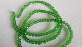 Стеклянные граненые бусины рондель, 4 на 3 мм, 145 шт, зеленые