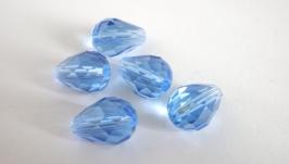 Капли бусины стеклянные граненые, 13 мм длина, синие прозрачные