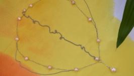 Восточная тика с натуральным розовым   жемчугом ′Паутинка′