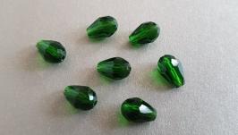 Капли бусины стеклянные граненые, 13 мм длина, темно-зеленые