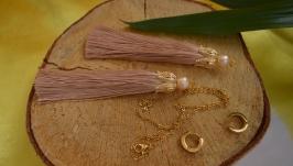 Комплект-трансформер цепочка и серьги-кисти с жемчугом ′Золотая лилия′