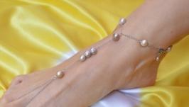 Слейв - браслет на ногу с лиловым жемчугом ′Жемчужный плен′