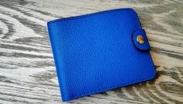 Портмоне кожаное цвета электра (синее)