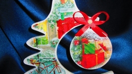 Новогодняя, рождественская декоративная елочка ′Канун Рождества′, декупаж,