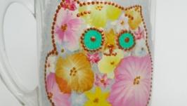 Чашка ′Розовый Котик′ стеклянная ручная роспись