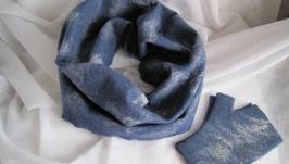 Комплект снуд и митенки, Валяный шарф, шарф-снуд валяний, комплект з вовни