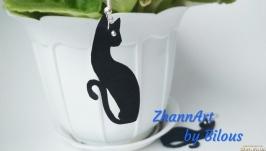 Кожаные серьги ′Black cat′