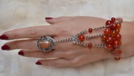 Слейв-браслет с сердоликом ′Лето красное′