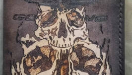 Кожаная обложка на паспорт VTX с черепами