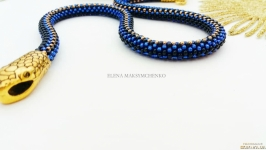 Колье-жгут из японского бисера′Змейка′синий