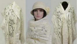 ′Ванильные розы′ шарф - авторский войлок, нуно войлок