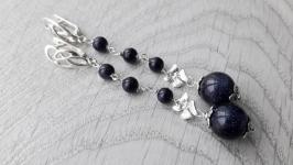 Серьги серебряные ′Авантюрин - каирская ночь′