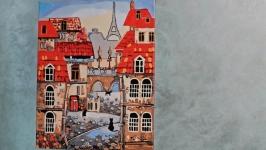 Картина акрилом ′Парижский дворик′
